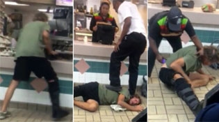 Crazy Racist Trashing A Burger King Gets A Brutal Beating